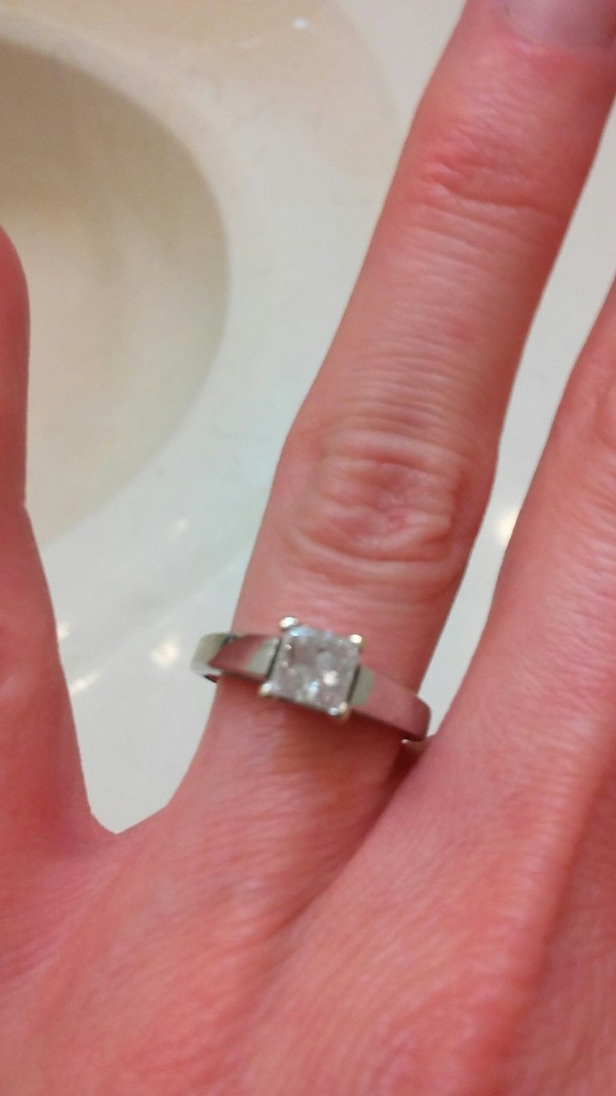 Diamond ring Kay Jewelers 14k White Gold size 4 1/2 Just below half ...