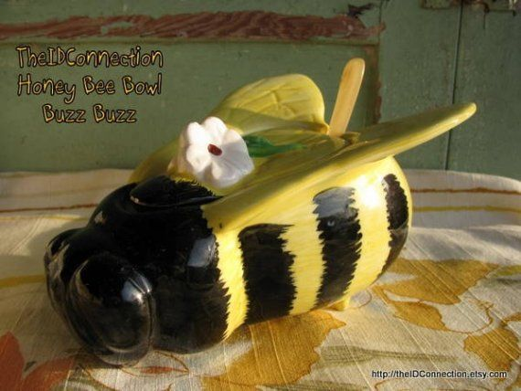 Vintage 1960u0027s Bumble Bee Honey Jar Bees In The By TheIDconnection, $28.00