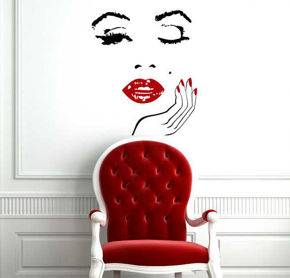 Wall Decals Girl Face with Hand Decal Manicure Nail Lips Vinyl