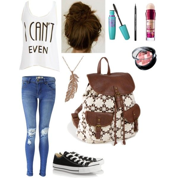 Cute back to school hair, makeup, and outfit with a backpack