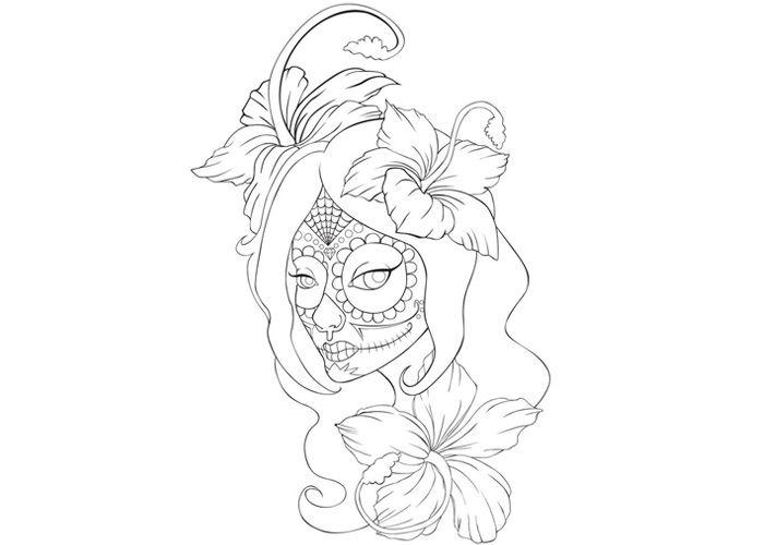 Coloring Pages For Adults Of Skulls : Sugar skull girl coloring sheet for dia de los muertos