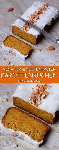 Karottenkuchen vegan, glutenfrei | Möhrenkuchen ohne Zucker - Elavegan