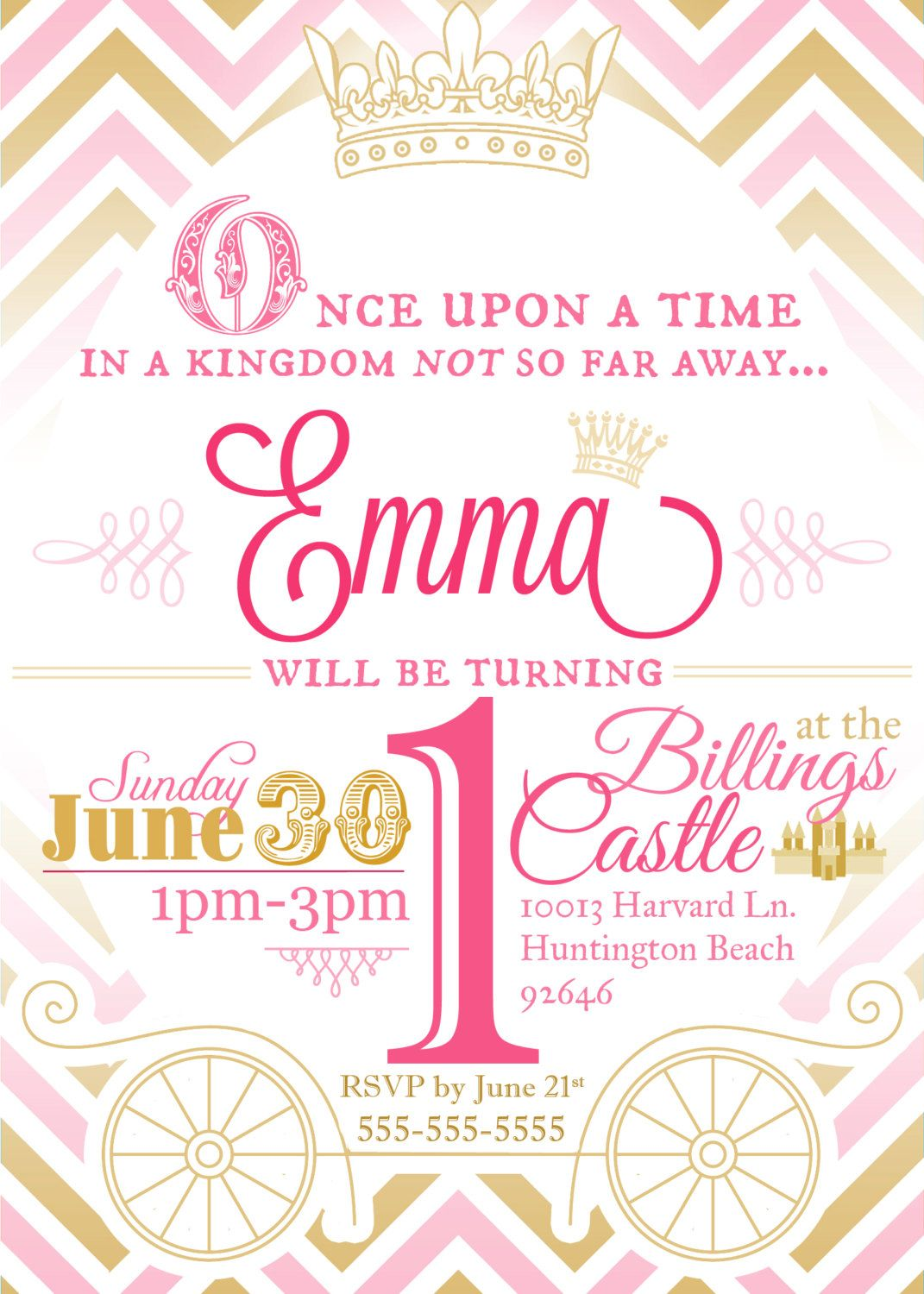 Princess Birthday Party Invitation in Gold and Pink Chevron ...