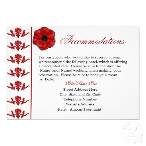 Diana averyi like this wording and we could put directions on the shop red poppy wedding accommodations cards created by melroseplacesf filmwisefo Choice Image