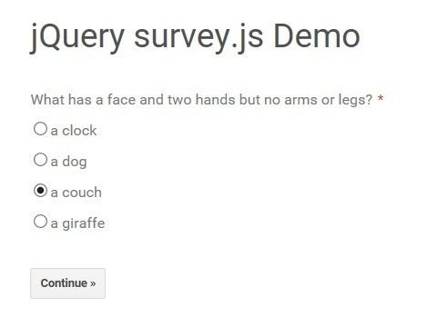 SurveyJs Is A Lightweight Jquery Plugin That Converts Poll