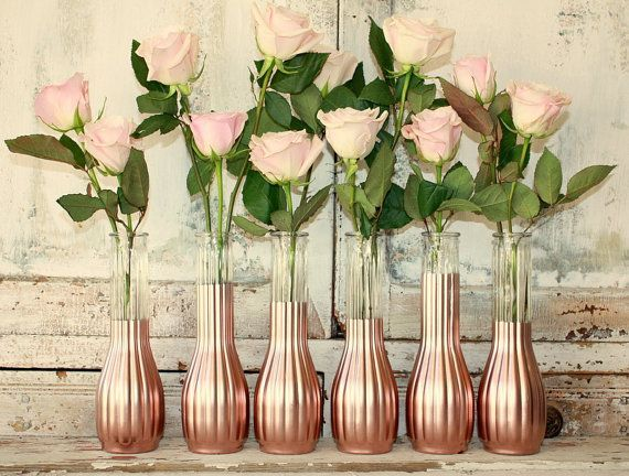 rose gold vases wedding decor set of 12 custom by. Black Bedroom Furniture Sets. Home Design Ideas