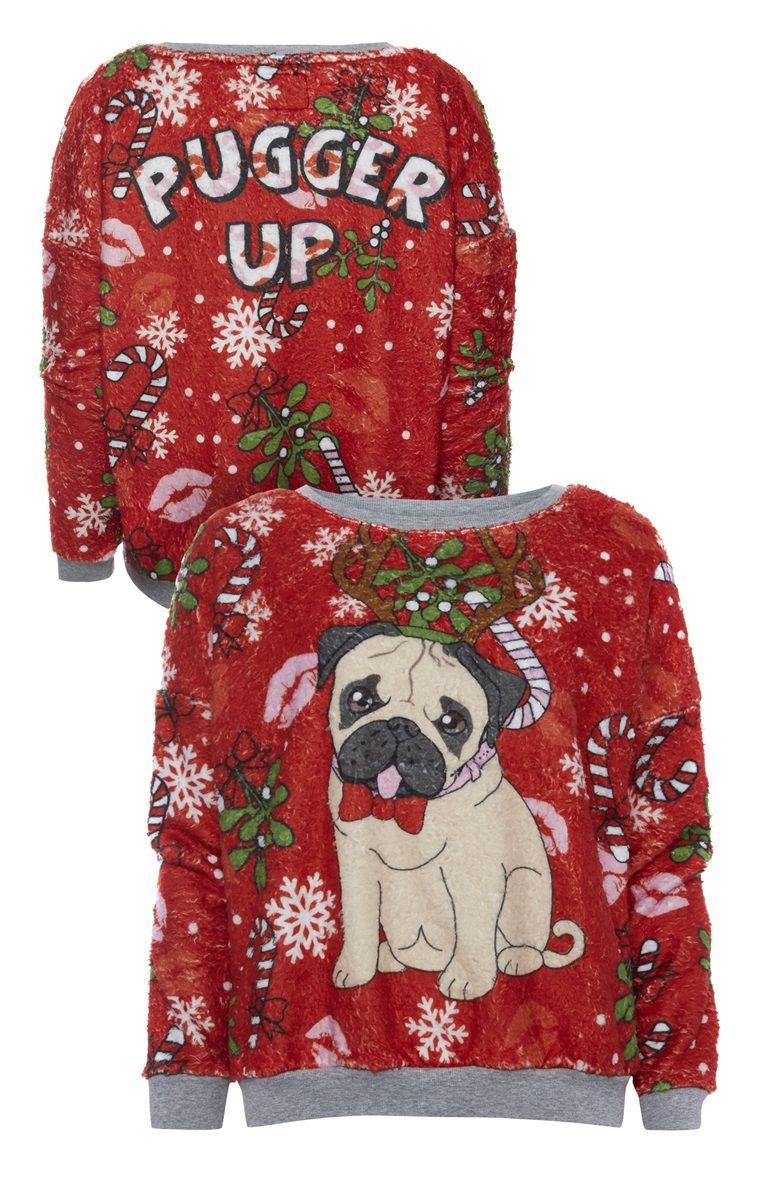 Sweatshirt mit weihnachtlichem Mopsmotiv