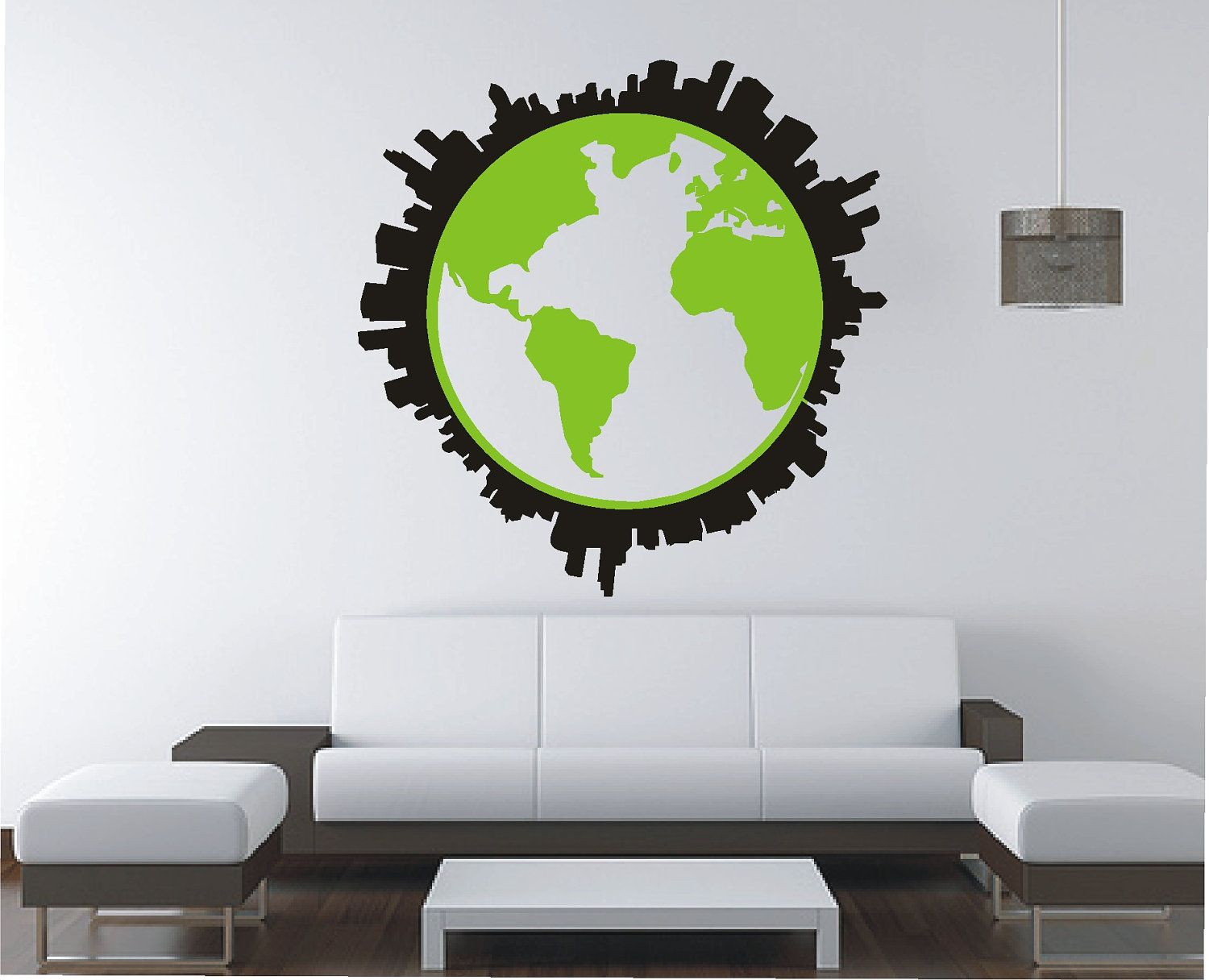 Globe world map city skyline wall sticker vinyl decal wall globe world map city skyline wall sticker vinyl decal wall tattoo mural gumiabroncs Choice Image