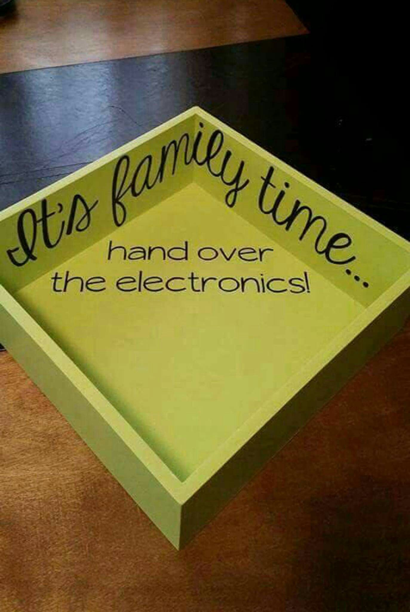 DYI Family electronics tray family time hand over your