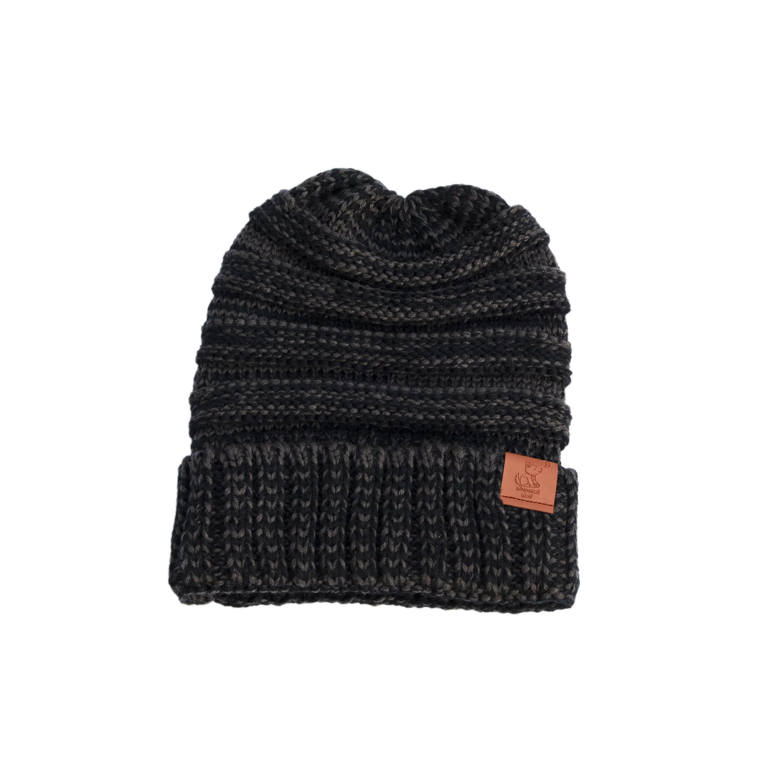 Triblend Heather Grey Black Knit Cuffed Beanie  effad24f5ef7