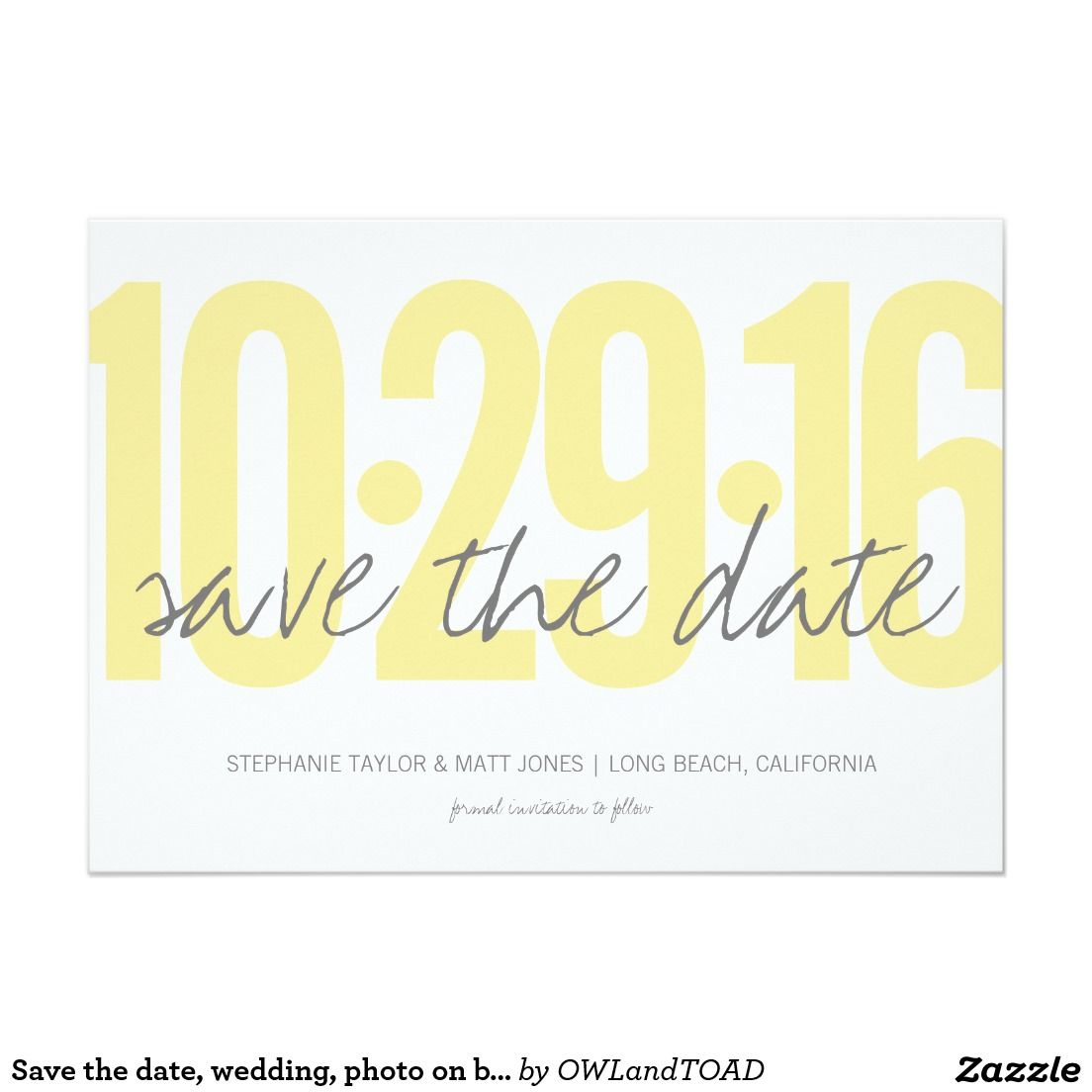 Save The Date Wedding Photo On Back Card Yellow Gray Weddings