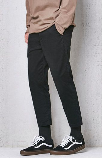 Slim Taper Chino Cropped Pants Pants Outfit Men Black Outfit