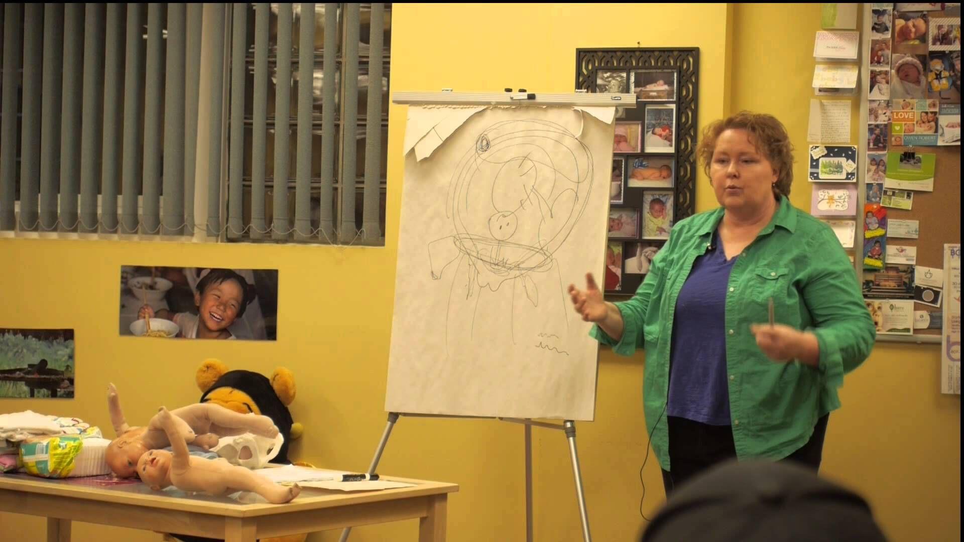 Midwife Holliday Tyson teaching a Prenatal Class at