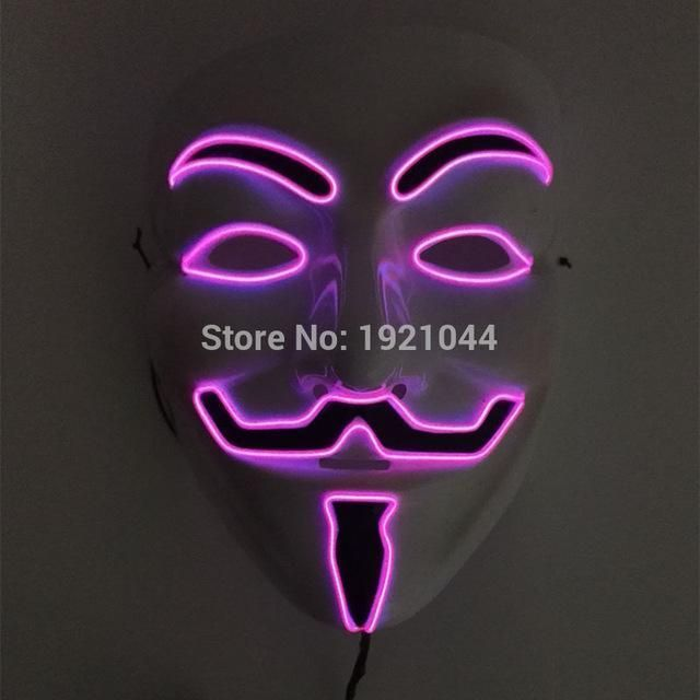 Pink Color EL wire Fashion V for VENDETTA Halloween Cosplay 10 Color ...