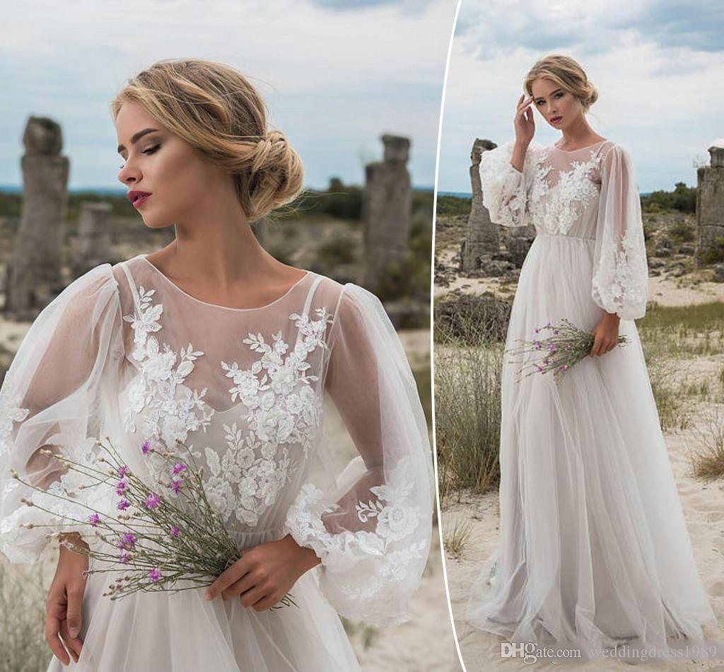 fc4374f3e9fc Discount 2018 New Milla Nova Wedding Dresses A Line Satin Backless Sweep Train  Long Sleeve Wedding Gowns Bateau Neck Winter Bridal Dress Plus Size Simple  ...