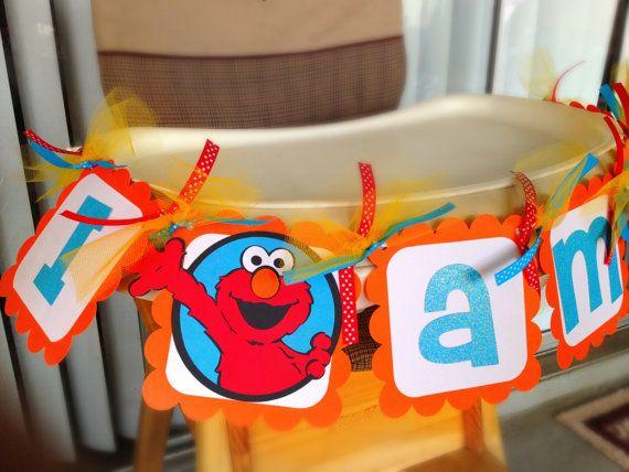 Sesame Street Elmo High Chair Banner for Birthday or any themed event via Etsy