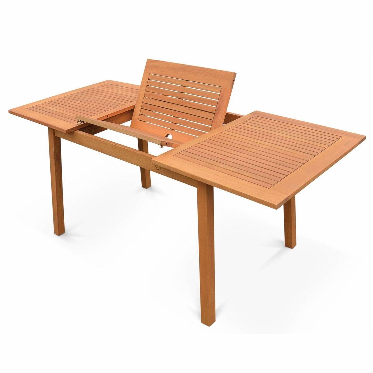 Table De Jardin En Bois Almeria 120-180cm Rectangulaire Avec ...