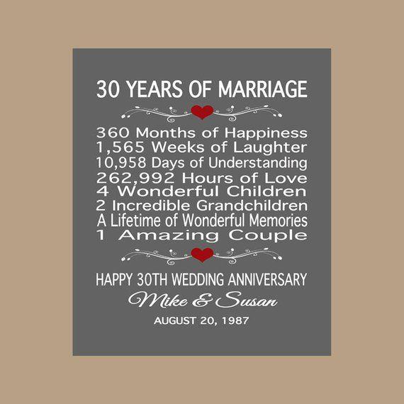 Gift For 30 Wedding Anniversary: 30th Anniversary Gift, 30 Years Anniversary Gift, 30 Years