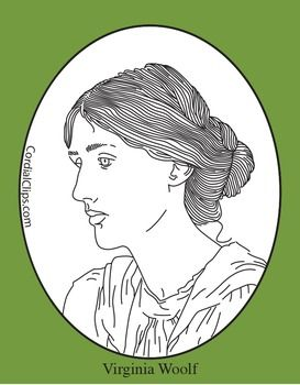 Coloring Pages Zip File. Cordial Clips presents a black and white line clip art picture portrait of  Virginia Woolf zip file contains 2 png files with transparent approx Clip Art Coloring Page or Mini Poster woolf
