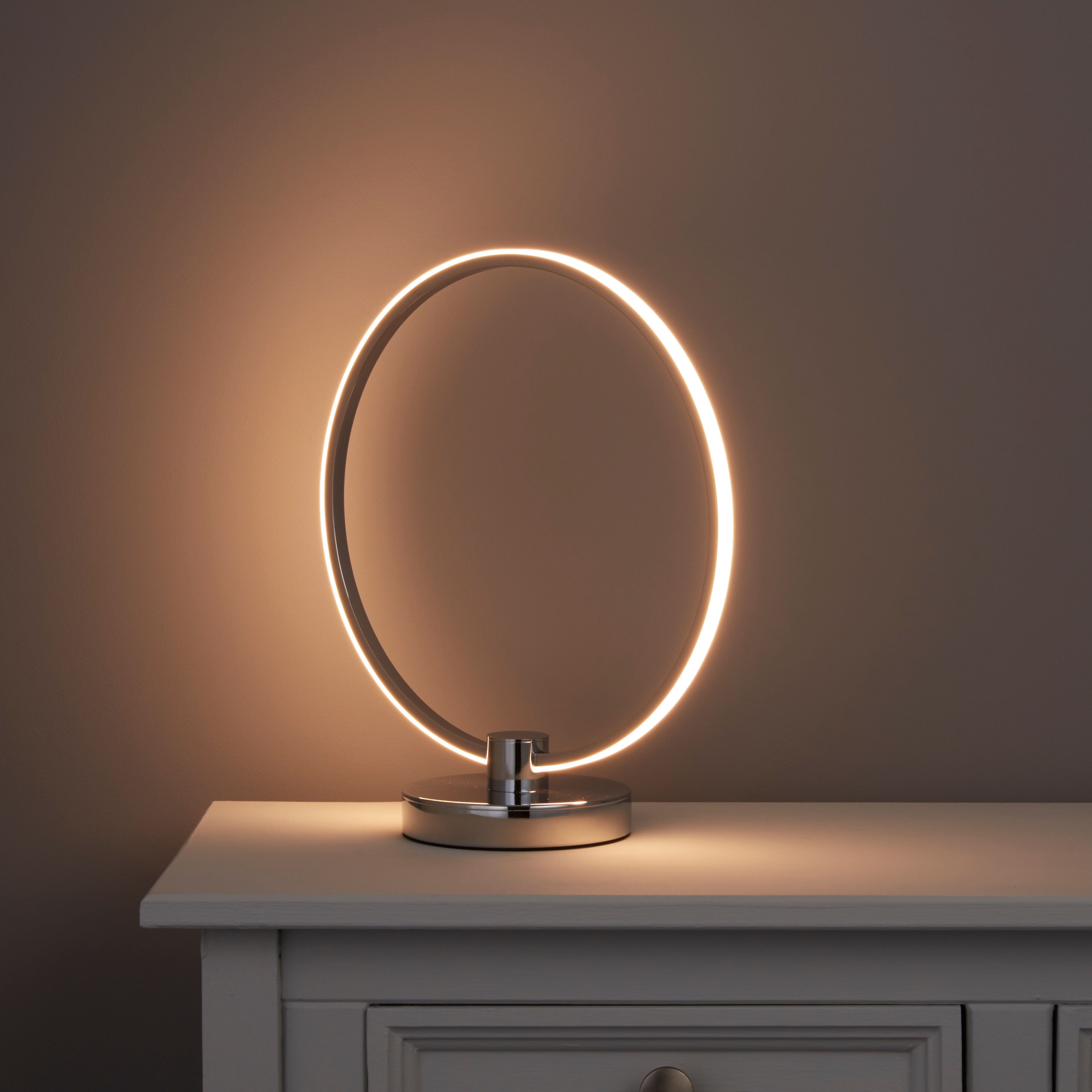 Tani Integrated LED Brush Nickel Effect Table Lamp B&Q for all