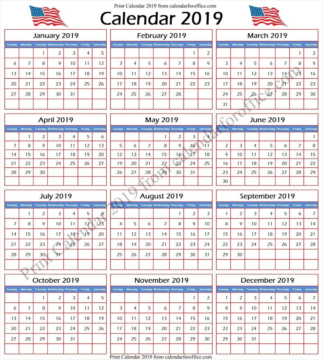 2019 calendar with federal holidays