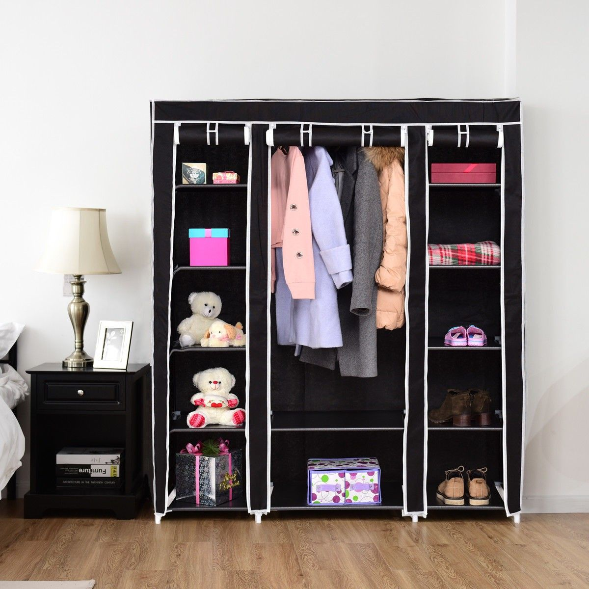 Costway New Triple Canvas Wardrobes Cupboard Hanging Clothes Rail Storage Shelves Black Our Storage Closet Organization Closet Storage Cabinets Portable Closet