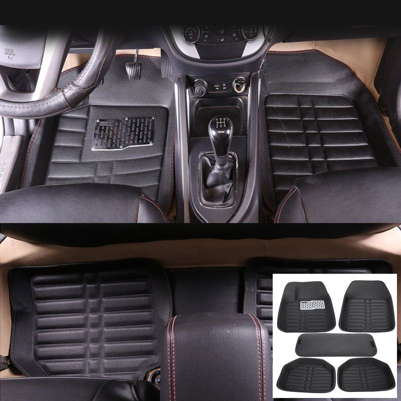 Nice Awesome US Universal 5pc Auto Car Floor Mats FloorLiner Front Rear Carpet All Weather