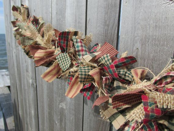 I can make this too. Antique Christmas Garland Burlap Homespun Fabric Jute Rustic Christmas or Cottage Chic Decor