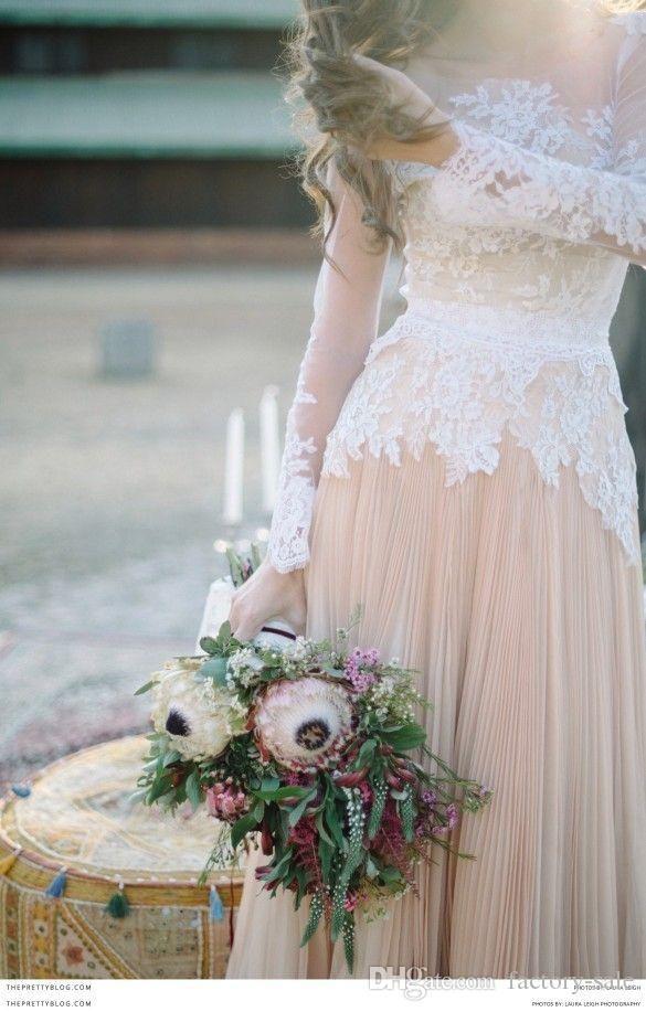 2016 Spring 2015 Fall Long Poet Sleeves Boho Wedding Dresses Jewel