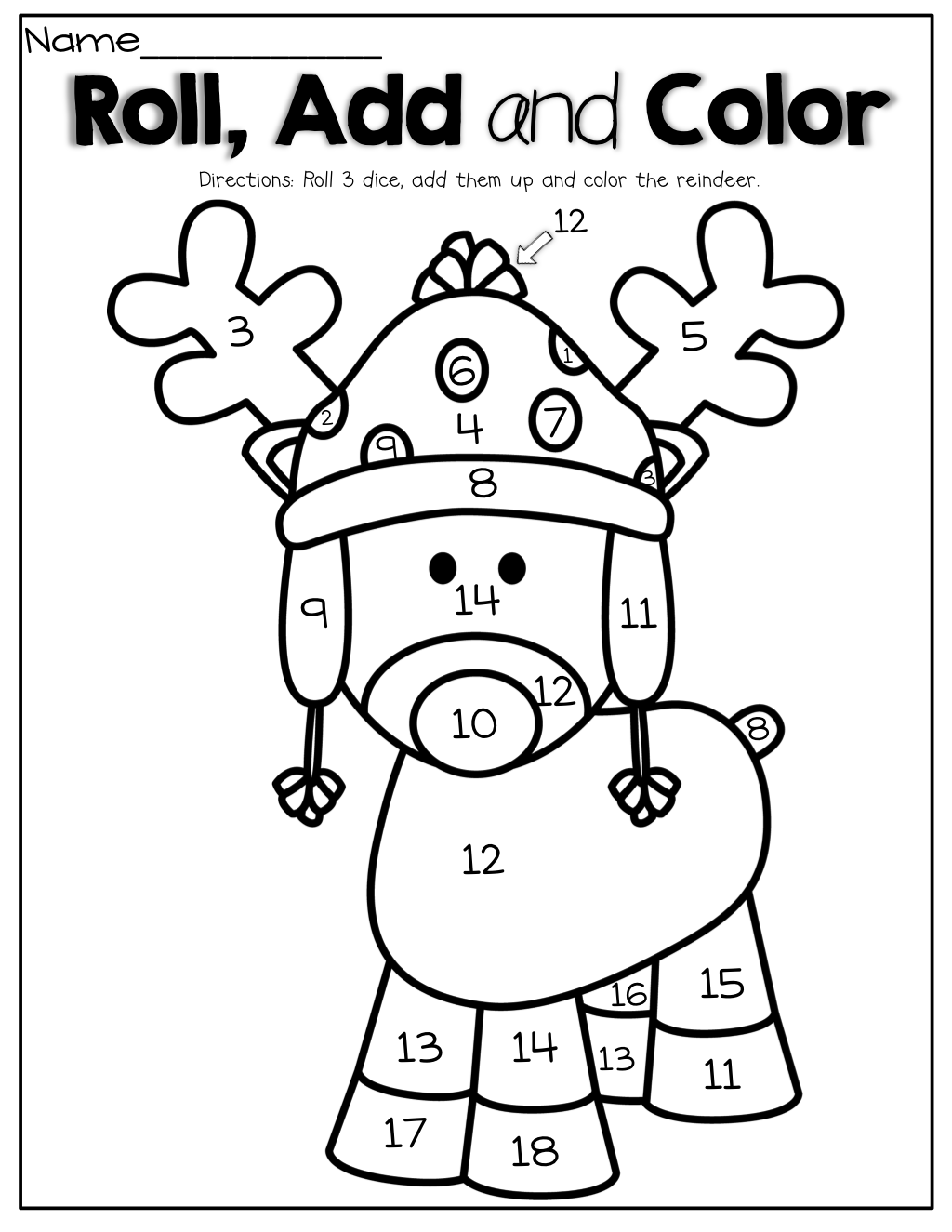 Roll 3 dice, add them up and color the reindeer! What a
