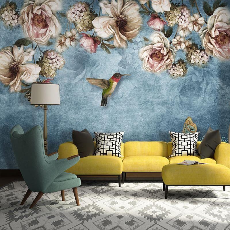 Best European Style Bold Blossoms Birds Wall Mural Bird 400 x 300