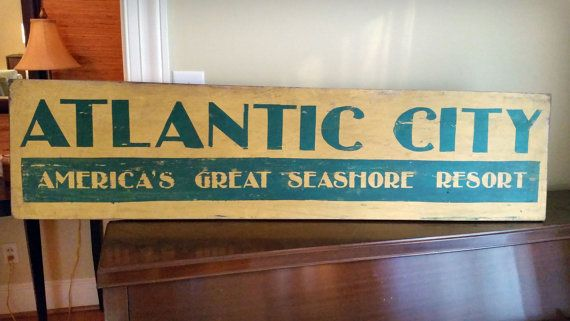 Atlantic City Sign, Re-use, Recycled Wood in Vintage Retro Graphic Design Style