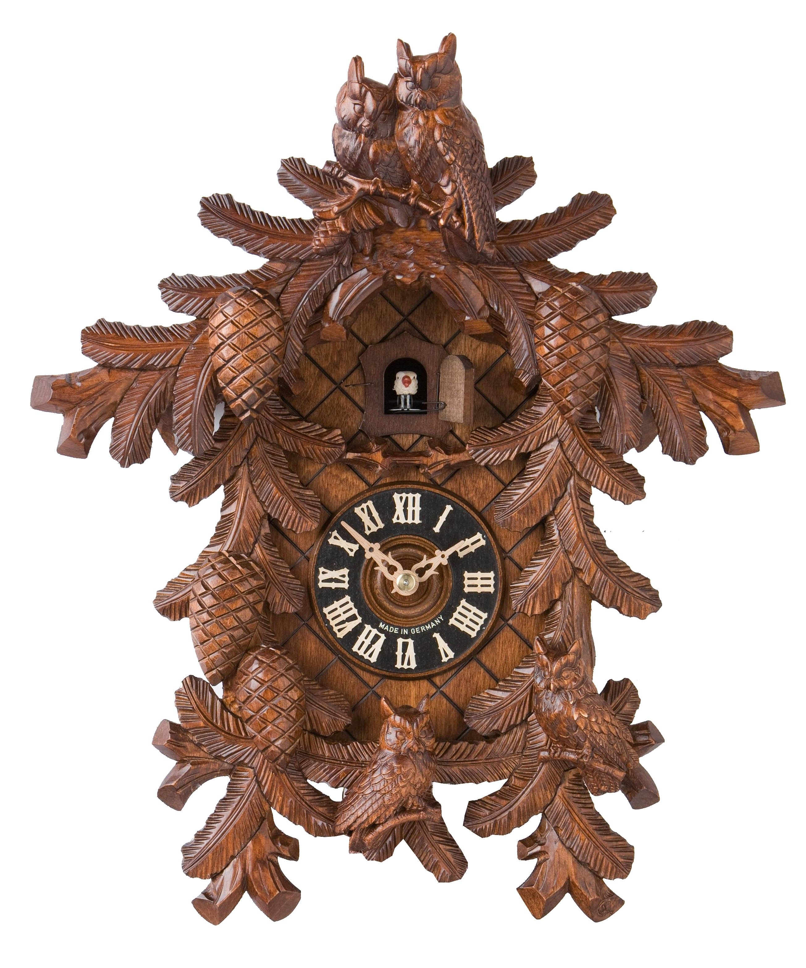NIB Authentic Hoenes German Black Forest Cuckoo Clock 4 Owls 8 Day Very Rare