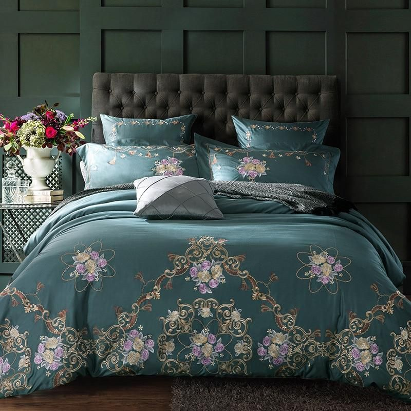 60SEgyptian Cotton Embroidered Luxury Royal Bedding Set 4