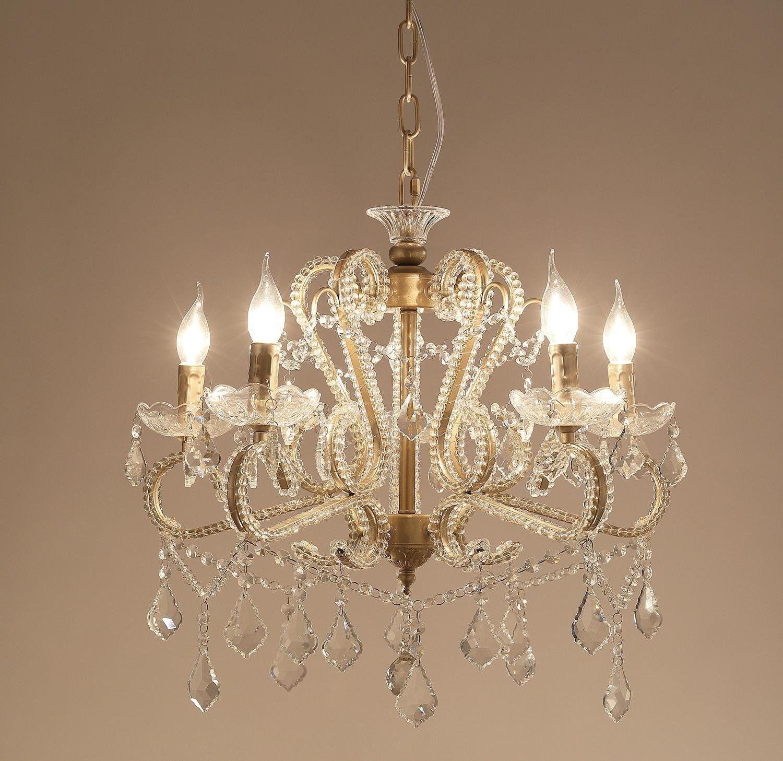Garwarm 5 Lights Vintage Crystal Chandeliers Ceiling Lights Crystal
