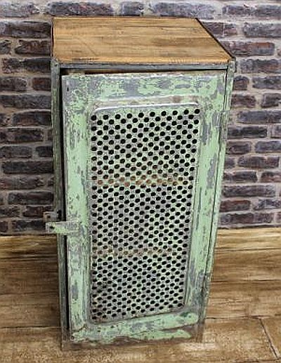 Industrial locker with vented door in an original shabby chic finish