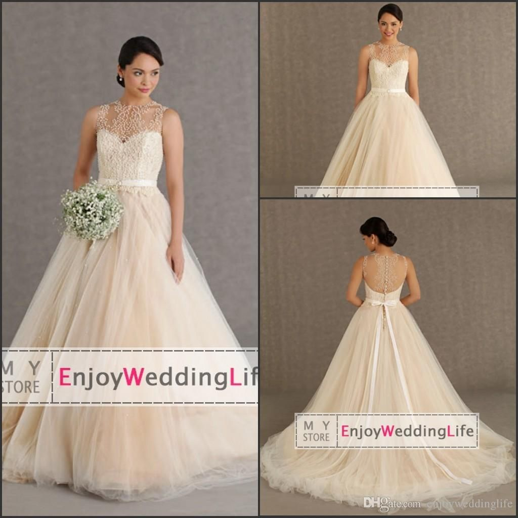 sheer crew neck tulle a line wedding dresses sexy lace top