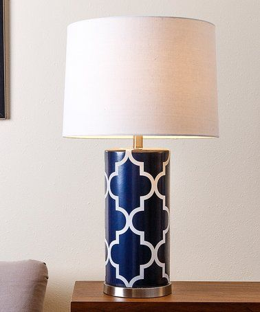 White U0026 Navy Blue Lattice Table Lamp ~
