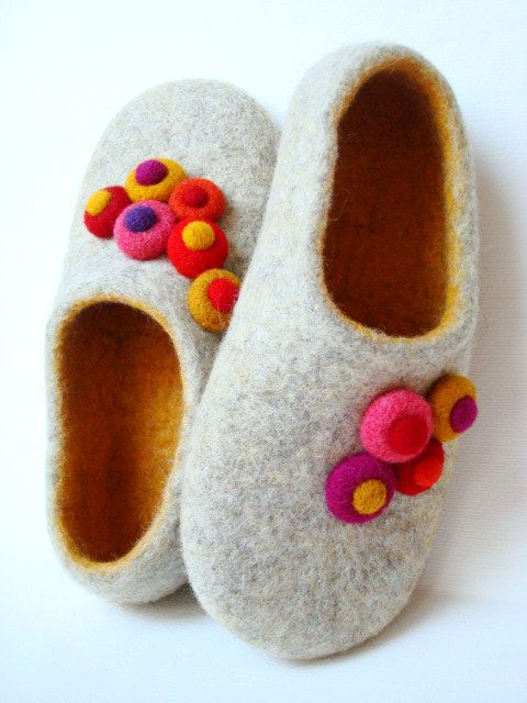 e3001dc78c758 Ecologic wool slippers. Grey/White. SIZE 9.5US(10.1inch)/EU 41(25.7 ...