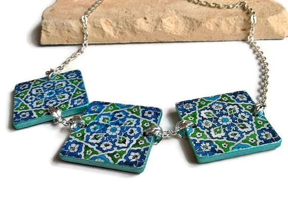 damascus tiles necklace turkish jewelry damascus tiles by xtory