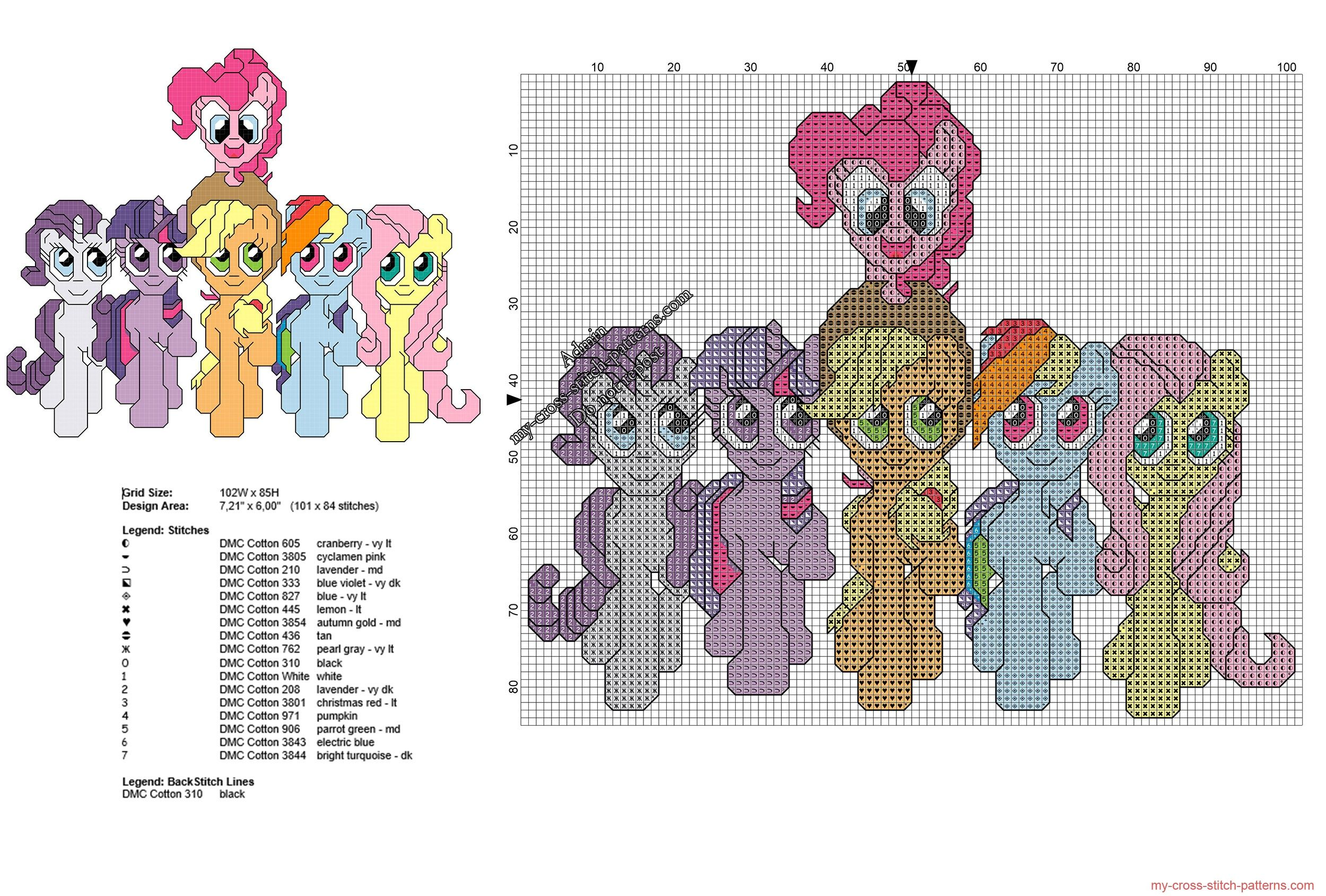 All My Little Pony together free cross stitch pattern | My little ...