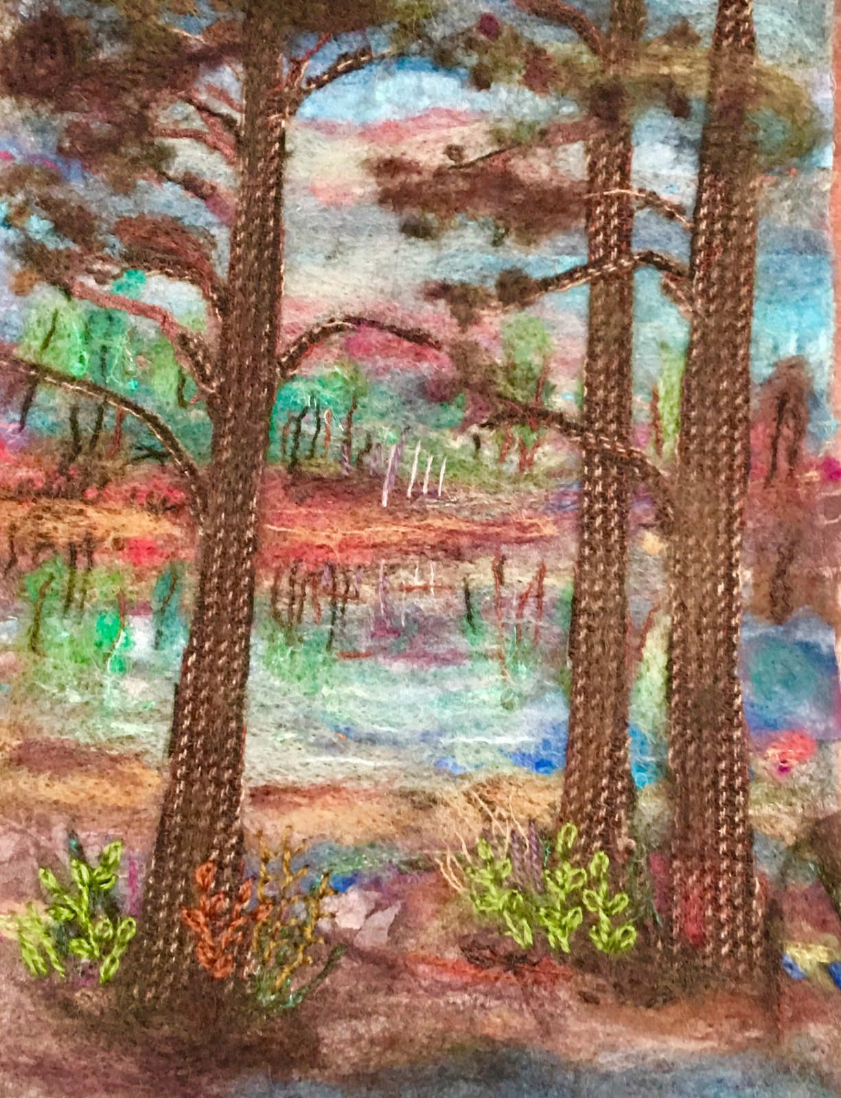 https://flic.kr/p/GL3Dw5 | Georgia Pond at Sunset | This small needle felted quilt is 8x12 inches. It is comprised mostly of wool with some cotton fabric.