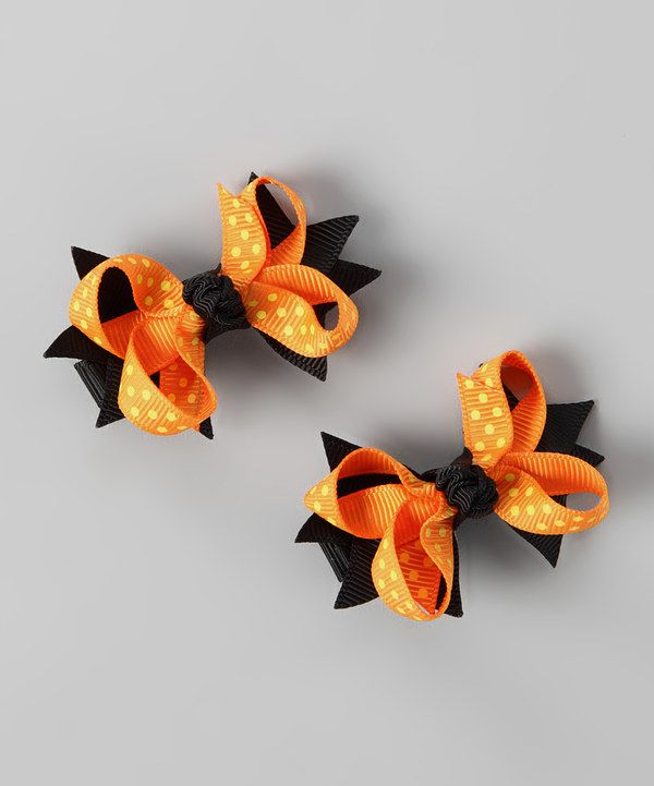 Look at this Orange & Yellow Polka Dot Bow Clip Set on #zulily today!