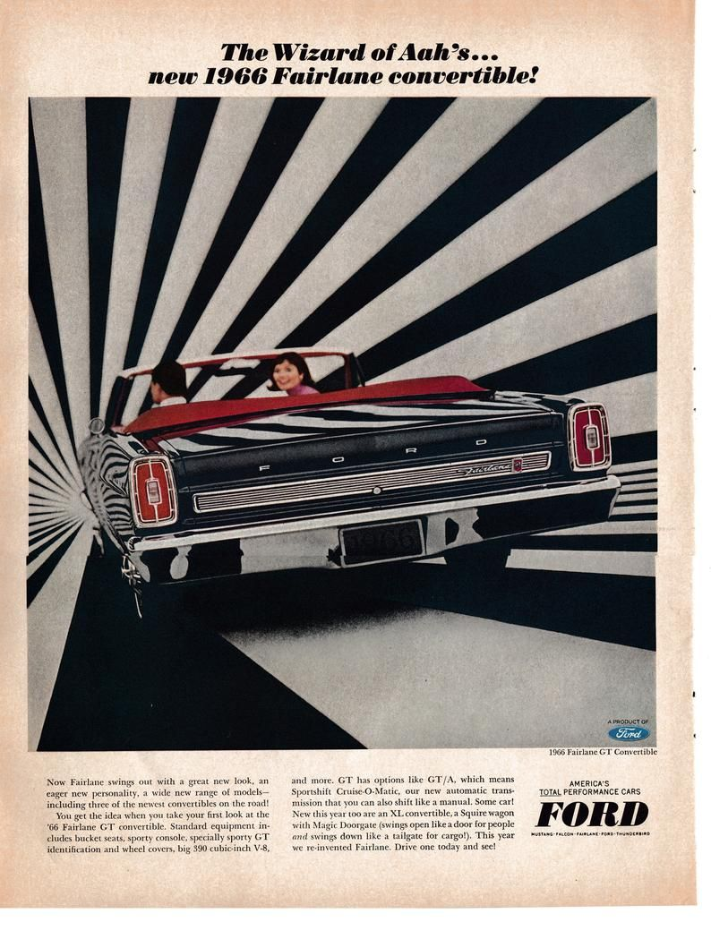 1966 Ford Fairlane GT Convertible-Wizard of Aah Original 13.5 * 10.5 Magazine Ad