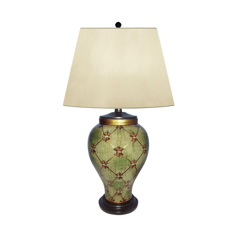 """Beautiful Porcelain Garden Trellais Hand Painted Table Lamp 27"""" with Shade"""