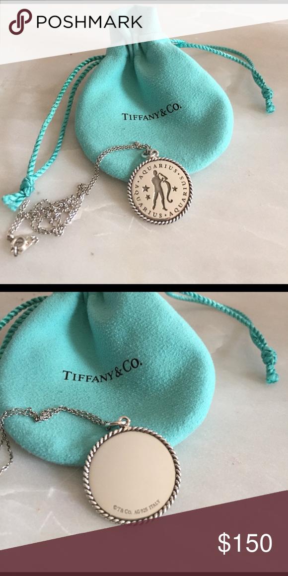9650cddc1 Tiffany Zodiac Charm and chain Sterling silver Aquarius charm on 18