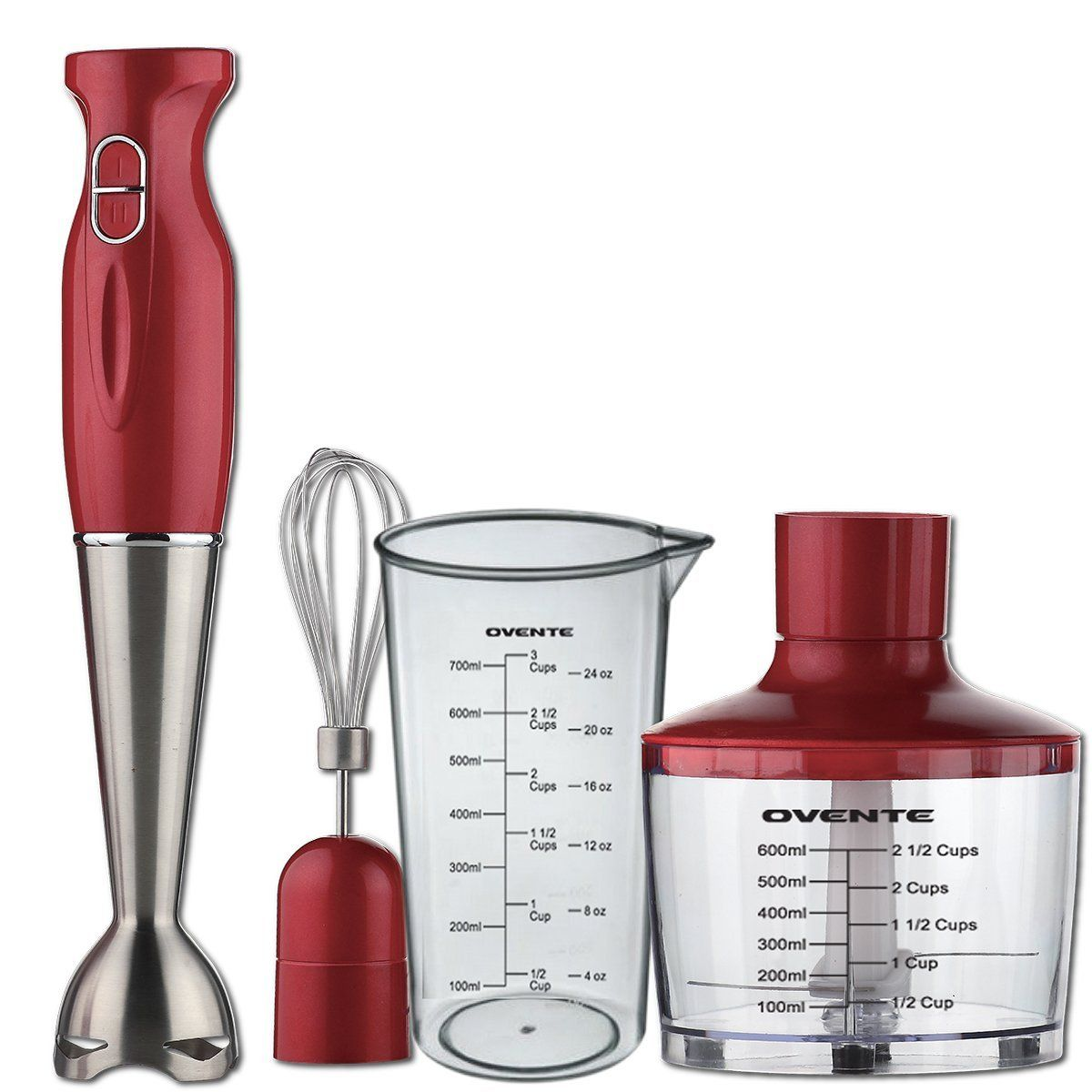 Ovente HS585R Robust Stainless Steel Immersion Hand Blender with Beaker, Whisk Attachment and Food Chopper, Red -- Continue to the product at the image link.