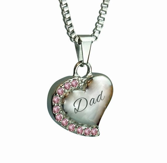 Love to Treasure Dad Patterned Gold Heart Urn Pendant - Ash Cremation Jewellery with Personalised Engraving 4EeUfW37