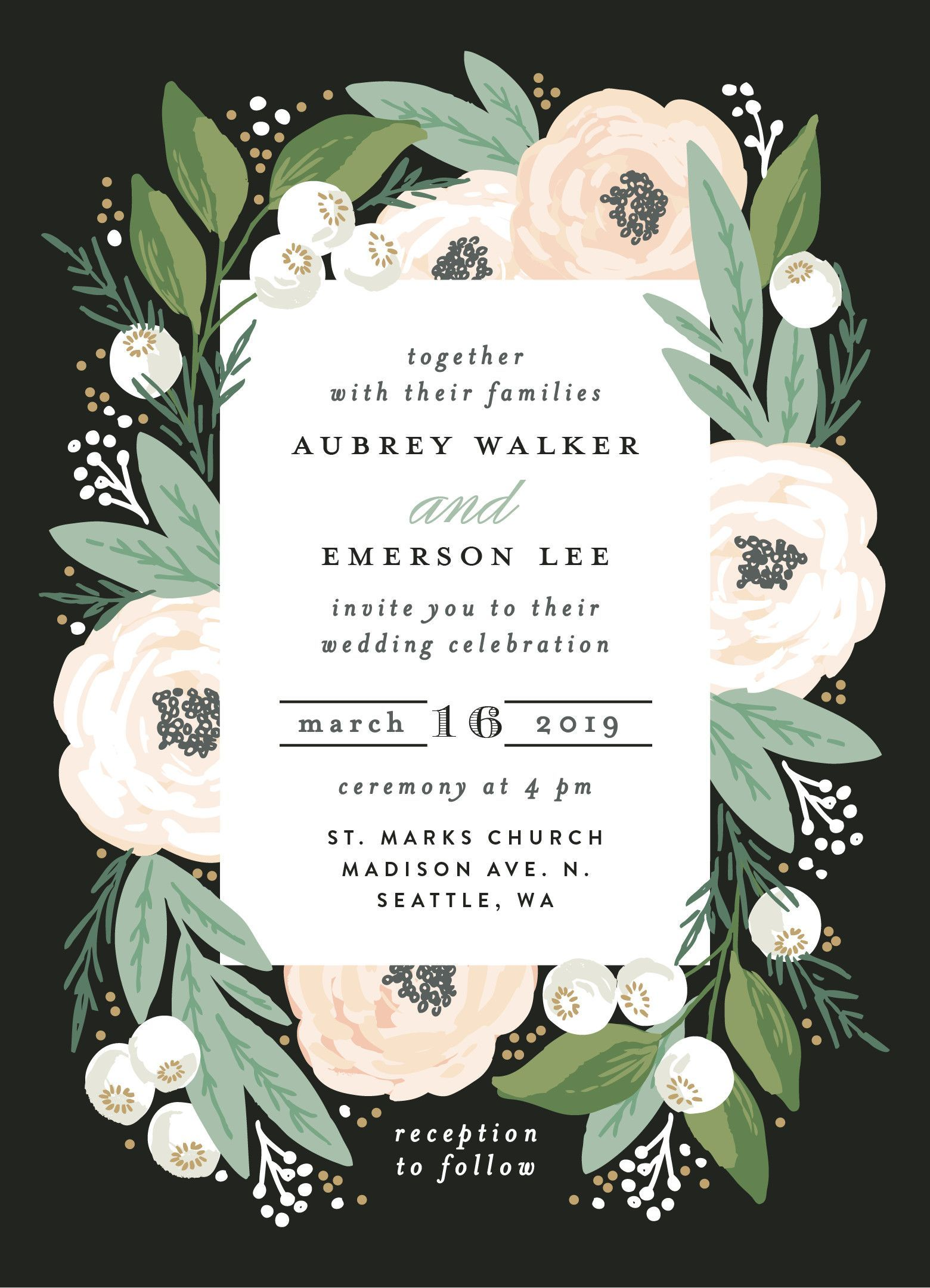 Pink White And Green Floral Garland Wedding Design Invitation