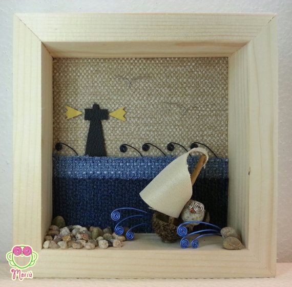 """3d picture with owl in a boat in the sea """"Lighthouse at sunset""""  Pebbleart - 3dArt - Pebble art and wire - Owls of stones - Cute Owl - Stone's artworks on Etsy    https://www.etsy.com/it/listing/223743490/pebble-art-and-wire-quadro-3d-con"""